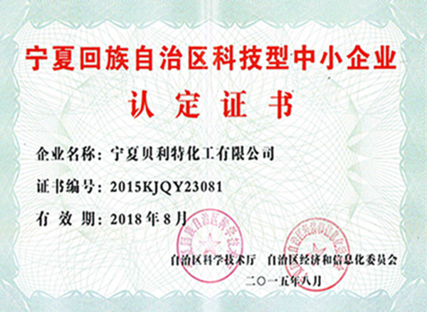 Certification of science and technology SMEs in Ningxia Hui Autonomous Region